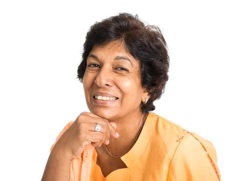 Foto für Portrait of a happy 50s Indian mature woman smiling, isolated on white background. - Lizenzfreies Bild