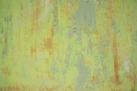 Photo pour Detail of Old, Grunge, Rusty Metal Doors with Layers of Green, Turquoise and Yellow Paint and Rust. - image libre de droit