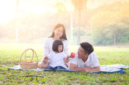 Photo pour Asian family picnic - image libre de droit