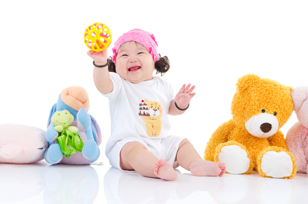 Photo for Asian baby girl playing toys - Royalty Free Image