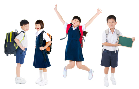 Photo pour Group of asian primary students - image libre de droit