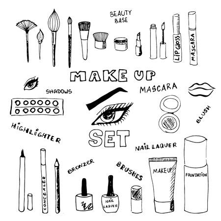 Illustration pour Doodle make up set. Eps 8. - image libre de droit