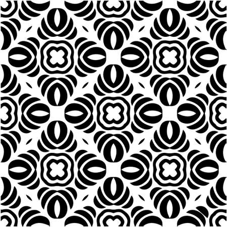 floral seamless pattern background.Geometric ornament for wallpapers and backgrounds. Black and white pattern