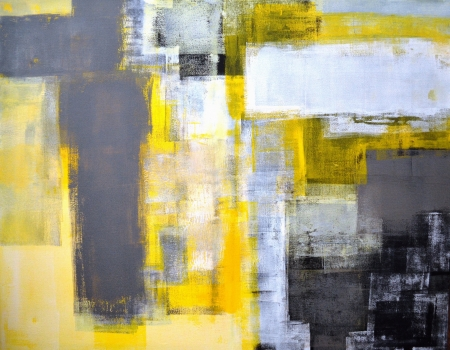 Photo for Grey and Yellow Abstract Art Painting - Royalty Free Image