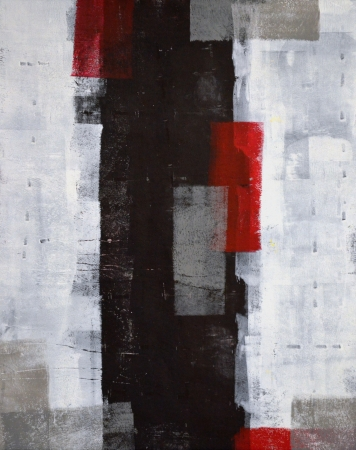 Photo pour Grey and Red Abstract Art Painting - image libre de droit