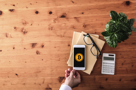 Photo for pay with bitcoins concept - Royalty Free Image