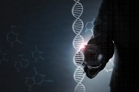 Photo for businessman pointing dna helix - Royalty Free Image