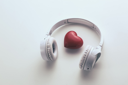 Photo for heart and headphone on the white background - Royalty Free Image