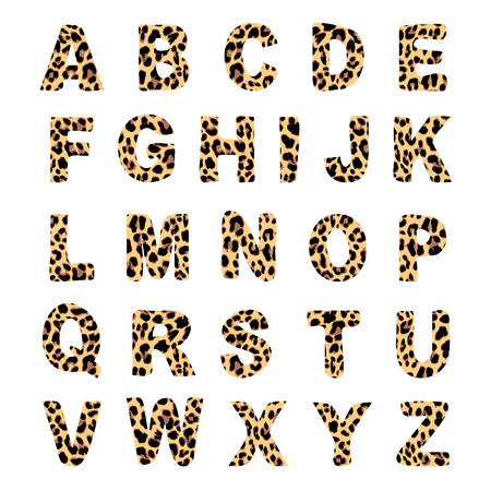 Illustration pour Trendy alphabet set, leopard pattern design, vector illustration, font - image libre de droit