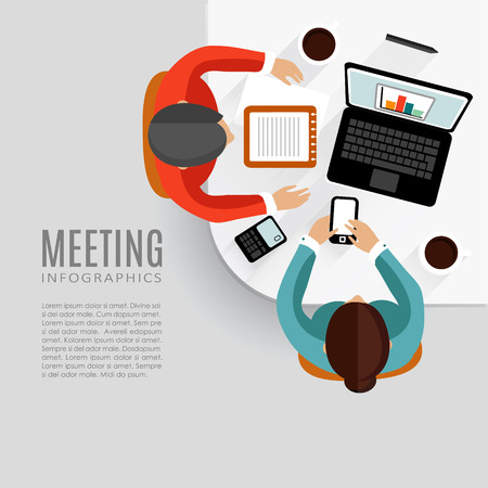 Ilustración de Concept of business meeting, brainstorming, teamwork, flat design, vector background - Imagen libre de derechos