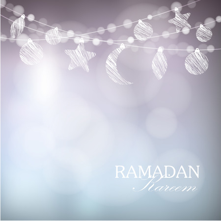 Illustration for Garlands with moon, stars, lights, vector illustration background, card, invitation for muslim community holy month Ramadan Kareem - Royalty Free Image