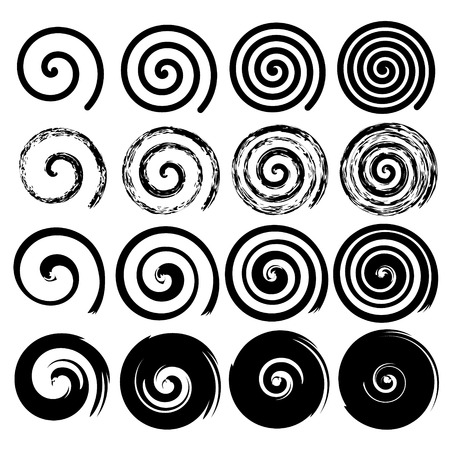 Illustration pour Set of black spiral motion elements isolated objects different brush texture vector illustrations - image libre de droit