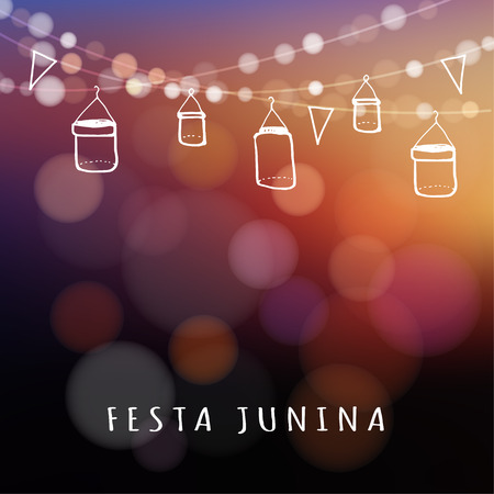 Ilustración de Brazilian june party, midsummer celebration or summer garden party, vector illustration background with garland of lights, glass jars lanterns and flags - Imagen libre de derechos