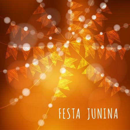 Ilustración de Brazilian june party, vector illustration background with garland of lights and flags - Imagen libre de derechos