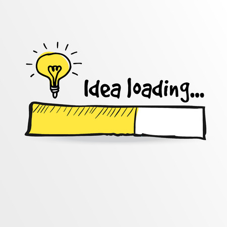Illustration pour Loading bar with bulb, creativity, big idea, innovation concept, vector illustration sketch - image libre de droit