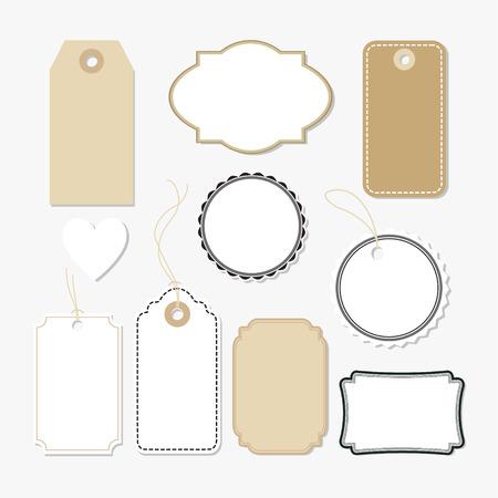 Illustration pour Set of various blank paper tags, labels, isolated vector elements, flat design - image libre de droit