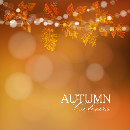 Autumn, fall background with maple, oak leaves and lights, vector illustration
