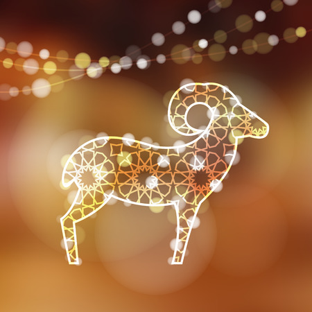 Ilustración de Greeting card with silhouette of ornamental sheep illuminated by lights, vector illustration background for Eid Ul Adha holiday - Imagen libre de derechos