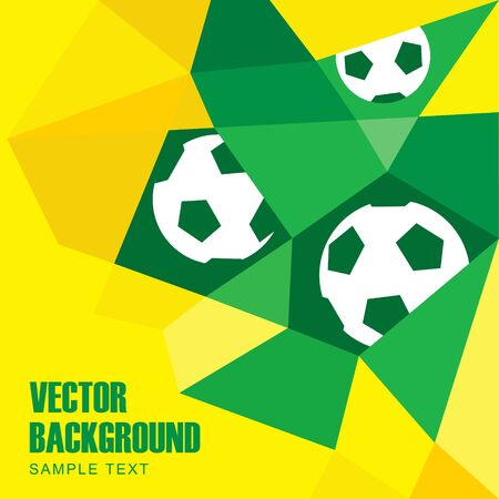 Polygon soccer football background with balls in Brazilian flag colors, yellow and green, vector illustration