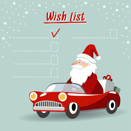 Illustration pour Cute christmas greeting card, wish list with Santa Claus, retro sports car and gifts, vector illustration  background - image libre de droit