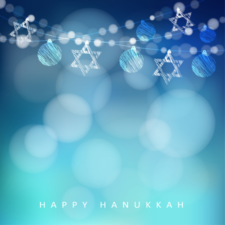 Illustration pour Jewish holiday Hannukah greeting card with garland of lights and jewish stars, vector illustration background - image libre de droit