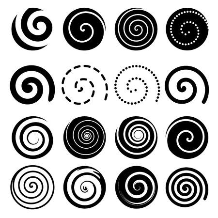 Ilustración de Set of spiral motion elements, black isolated objects, different brush textures, vector illustrations - Imagen libre de derechos