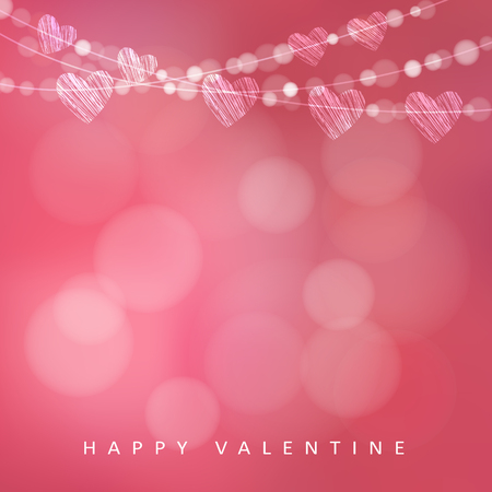 Illustration pour Valentines day card with garland of lights and hearts, vector illustration background - image libre de droit