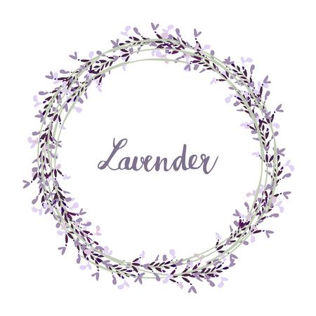 Illustration pour Hand drawn lavender wreath, illustration background - image libre de droit