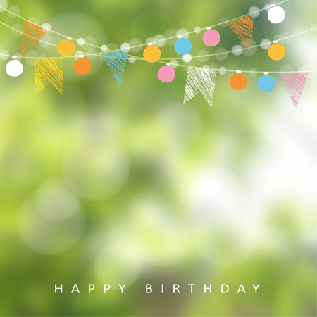 Ilustración de Birthday garden party or Brazilian june party, illustration with garland of lights, party flags and blurred background - Imagen libre de derechos