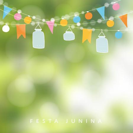 Illustration pour Brazilian june party,  festa junina. String of lights, jar lanterns. Party decoration. Birthday garden party. Blurred background, banner. - image libre de droit