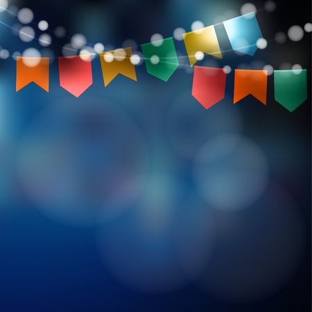 Ilustración de Brazilian june party. Festa junina. String of lights, party flags. Party decoration. Festive night,  blurred background. - Imagen libre de derechos