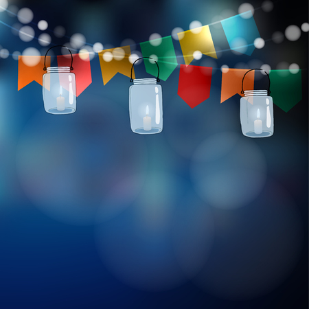 Ilustración de Brazilian june party. Festa junina. String of lights, party flags. Jar lanterns. Summer garden party decoration. Festive blurred background. Stock vector invitation. - Imagen libre de derechos