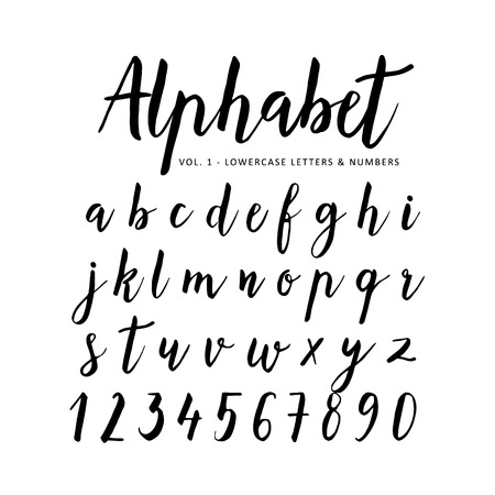 Illustration pour Hand drawn vector alphabet. Script font. Brush font. Isolated letters written with marker, ink. Calligraphy, lettering. - image libre de droit