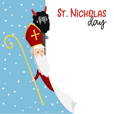 Illustration pour Saint Nicholas with devil and falling snow design - image libre de droit