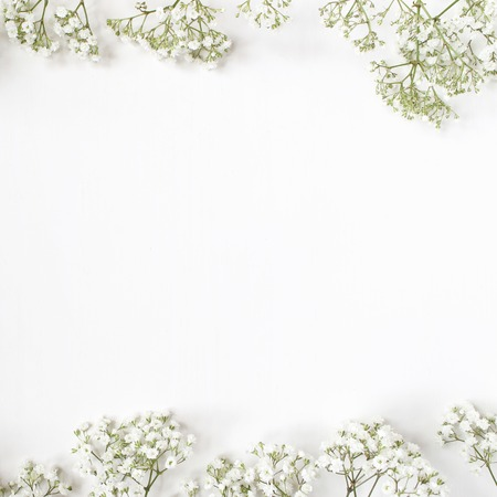 Foto für Styled stock photo. Feminine wedding desktop mockup with babys breath Gypsophila flowers on white background. Empty space. Floral frame, web banner. Top view. Picture for blog or social media. - Lizenzfreies Bild