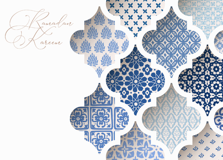 Illustration for Close-up of blue ornamental arabic tiles, patterns through white mosque window. Greeting card, invitation for Muslim holiday Ramadan Kareem. Vector illustration bacground, web banner, modern design. - Royalty Free Image