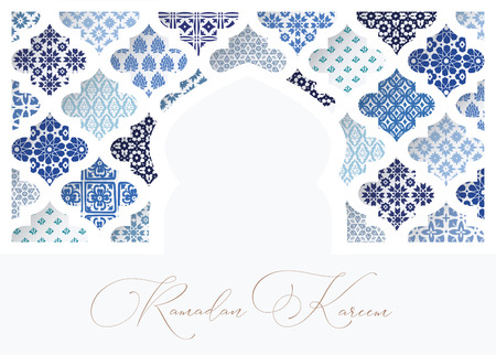 Illustration for Silhouette of white oranmental mosque window decorated by blue arabic tiles. Greeting card, invitation for Muslim holiday Ramadan Kareem. Vector illustration bacground, web banner. - Royalty Free Image