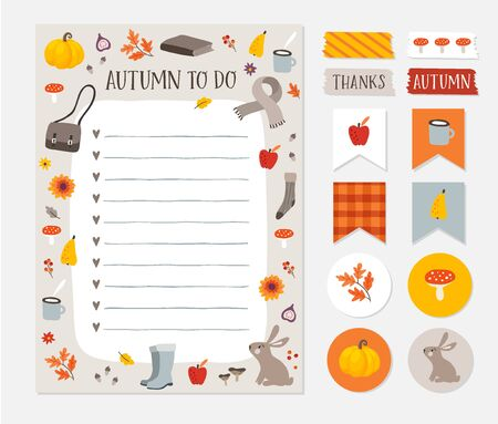 Illustration pour Autumn, fall wish, to do list. Colorful scrapbooking stickers, labels, tapes and gift tags. Cute stationery, planner template set. Trendy Thanksgiving holiday concept. Isolated vector objects. - image libre de droit