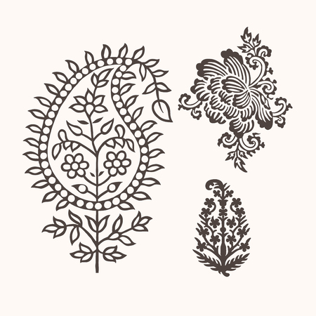Illustration for Set of 3 paisley elements. Traditional oriental ethnic ornament of India for your design. - Royalty Free Image