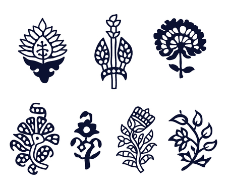 Ilustración de Set of 7 wood block print floral elements. Traditional oriental ethnic motifs of India Kashmir for your design. - Imagen libre de derechos