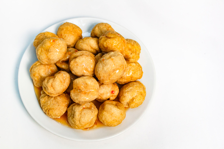 Photo for Fried fishballs and sweet sauce, street style. - Royalty Free Image