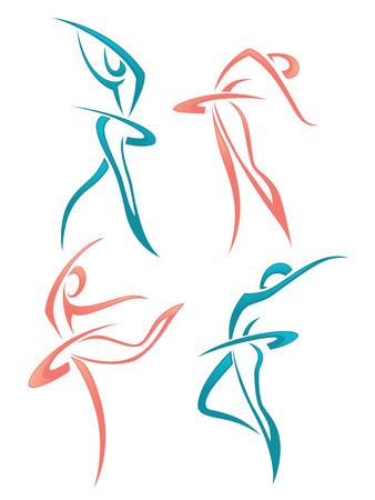Illustration pour vector collection of abstract women images - image libre de droit