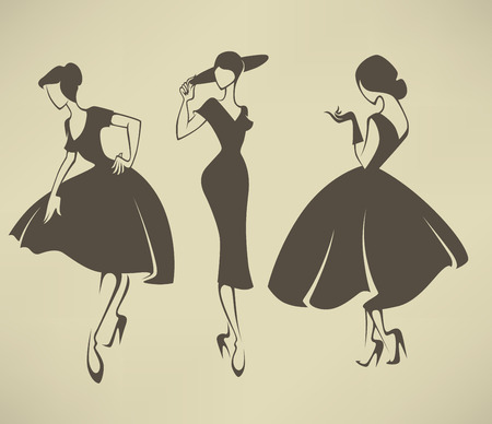 Illustration for vector collection of girls in retro style - Royalty Free Image