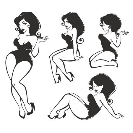 Ilustración de vector girls collection - Imagen libre de derechos