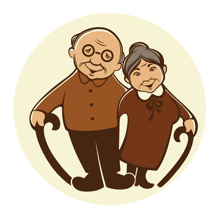 Illustration pour vector image of happy old people in cartoon style - image libre de droit