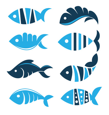 Photo for Set of vector fish icons, signs, symbols and emblems - Royalty Free Image
