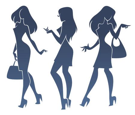 Ilustración de three fashionable girl silhouettes - Imagen libre de derechos