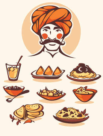 Illustration for vector collection of traditional indian food and chef image - Royalty Free Image