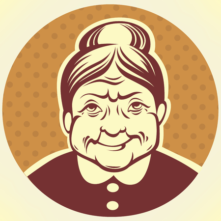 Illustration for vector portrait of lovely grandmother - Royalty Free Image
