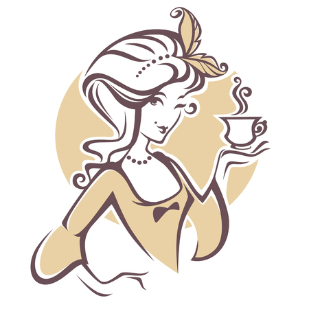 Illustration for historical woman with cup of tea, logo for restourant, cafe or tea company - Royalty Free Image